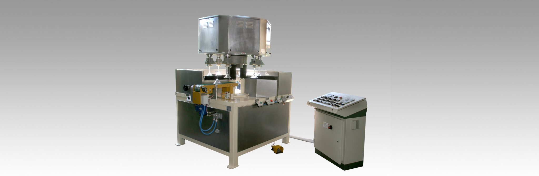 Transfer machines for glass processing.